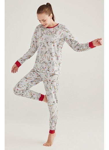 Penti Baskılı Bugs Pijama Takımı Gri